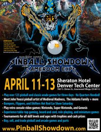 Poster with wizard for the April 11-13 Rocky Mtn. Pinball Showdown and Gameroom Expo
